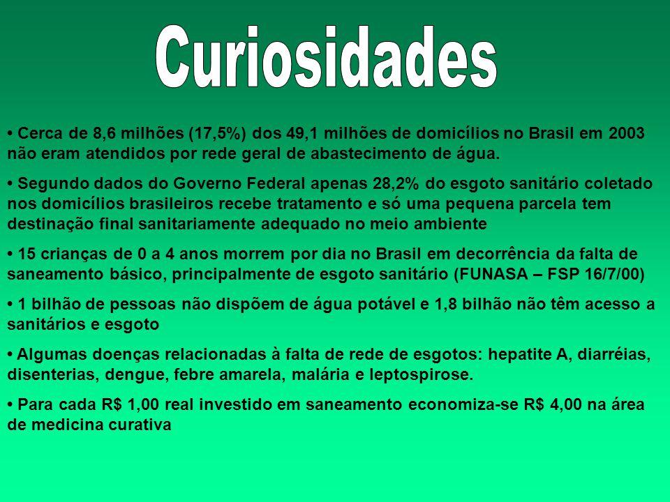 Cerca de 8,6 milhões (17,5%) dos 49,1 milhões de domicílios no Brasil em 2003 não eram atendidos por rede geral de abastecimento de água. Segundo dado
