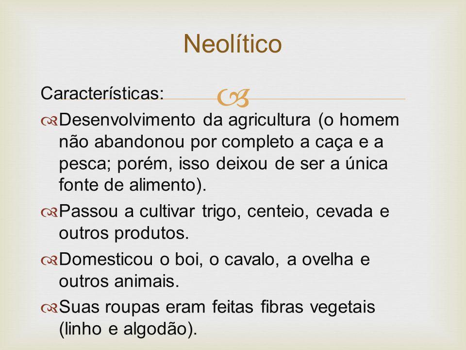  Características:  Desenvolvimento da agricultura (o homem não abandonou por completo a caça e a pesca; porém, isso deixou de ser a única fonte de a