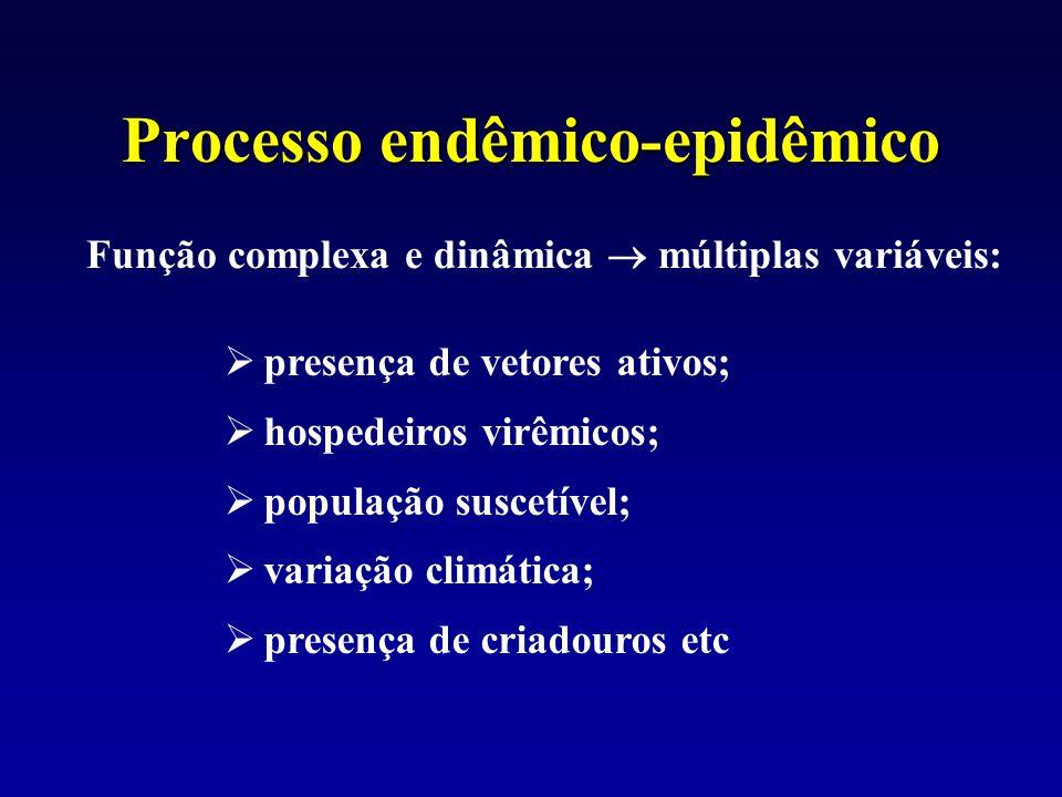 Processo endêmico-epidêmico Função complexa e dinâmica  múltiplas variáveis:  presença de vetores ativos;  hospedeiros virêmicos;  população susce