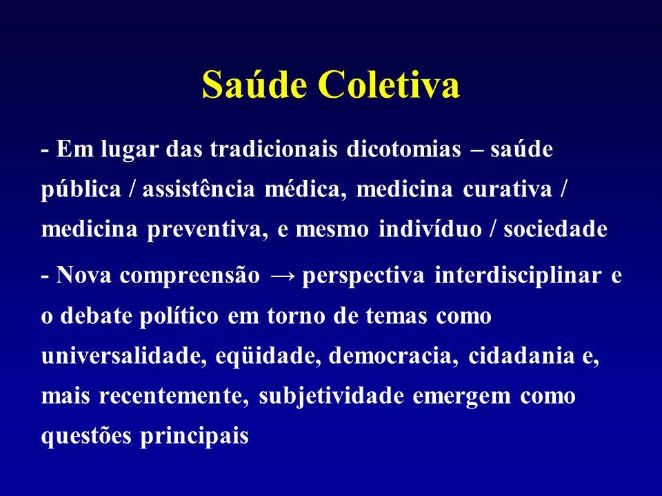 Saúde Coletiva - Em lugar das tradicionais dicotomias – saúde pública / assistência médica, medicina curativa / medicina preventiva, e mesmo indivíduo
