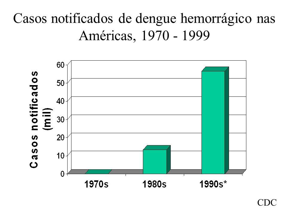 Casos notificados de dengue hemorrágico nas Américas, 1970 - 1999 * Datos provisionales hasta 1999, inclusive CDC