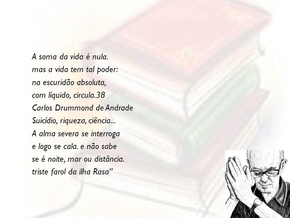 A soma da vida é nula. mas a vida tem tal poder: na escuridão absoluta, com líquido, circula.38 Carlos Drummond de Andrade Suicídio, riqueza, ciência.