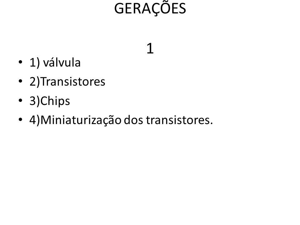 GERAÇÕES 1 1) válvula 2)Transistores 3)Chips 4)Miniaturização dos transistores.