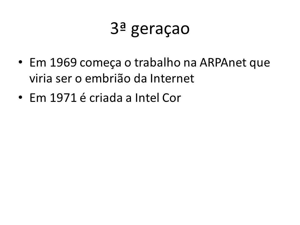 3ª geraçao Em 1969 começa o trabalho na ARPAnet que viria ser o embrião da Internet Em 1971 é criada a Intel Cor