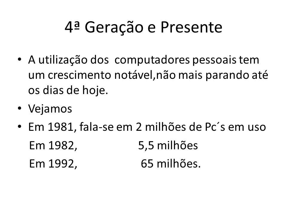 4ª Geração e Presente A utilização dos computadores pessoais tem um crescimento notável,não mais parando até os dias de hoje.
