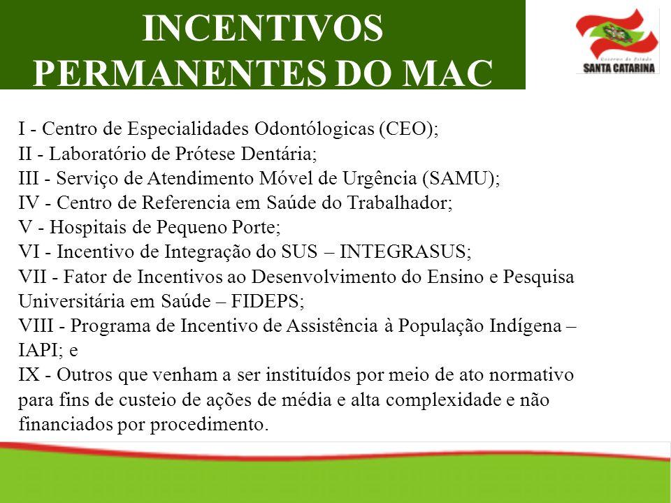INCENTIVOS PERMANENTES DO MAC I - Centro de Especialidades Odontólogicas (CEO); II - Laboratório de Prótese Dentária; III - Serviço de Atendimento Móv