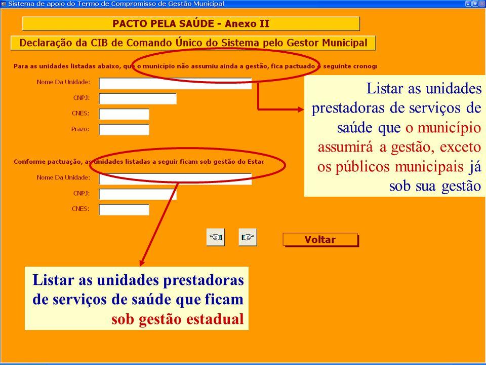 Listar as unidades prestadoras de serviços de saúde que ficam sob gestão estadual Listar as unidades prestadoras de serviços de saúde que o município
