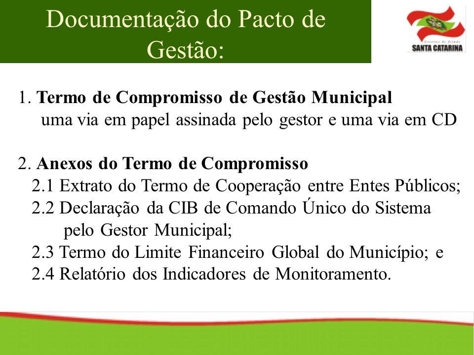 1. Termo de Compromisso de Gestão Municipal uma via em papel assinada pelo gestor e uma via em CD 2. Anexos do Termo de Compromisso 2.1 Extrato do Ter