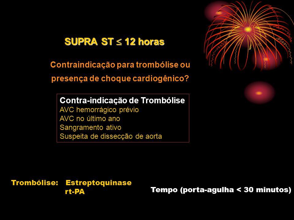 Contraindicação para trombólise ou presença de choque cardiogênico? SUPRA ST  12 horas Contra-indicação de Trombólise AVC hemorrágico prévio AVC no ú