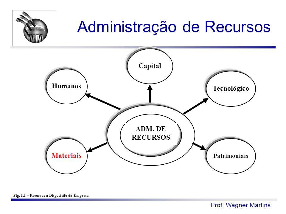 Prof. Wagner Martins ADM. DE RECURSOS Humanos Fig. 1.1 – Recursos à Disposição da Empresa Capital Tecnológico Patrimoniais Materiais Administração de