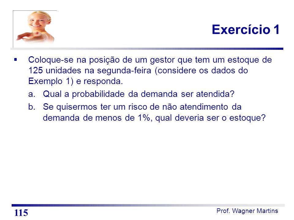 Prof. Wagner Martins Exercício 1  Coloque-se na posição de um gestor que tem um estoque de 125 unidades na segunda-feira (considere os dados do Exemp