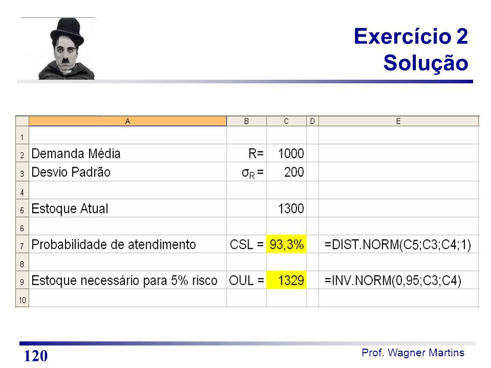 Prof. Wagner Martins Exercício 2 Solução 120