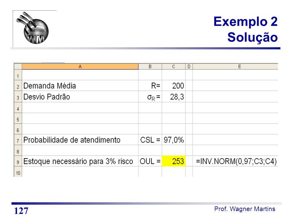 Prof. Wagner Martins Exemplo 2 Solução 127
