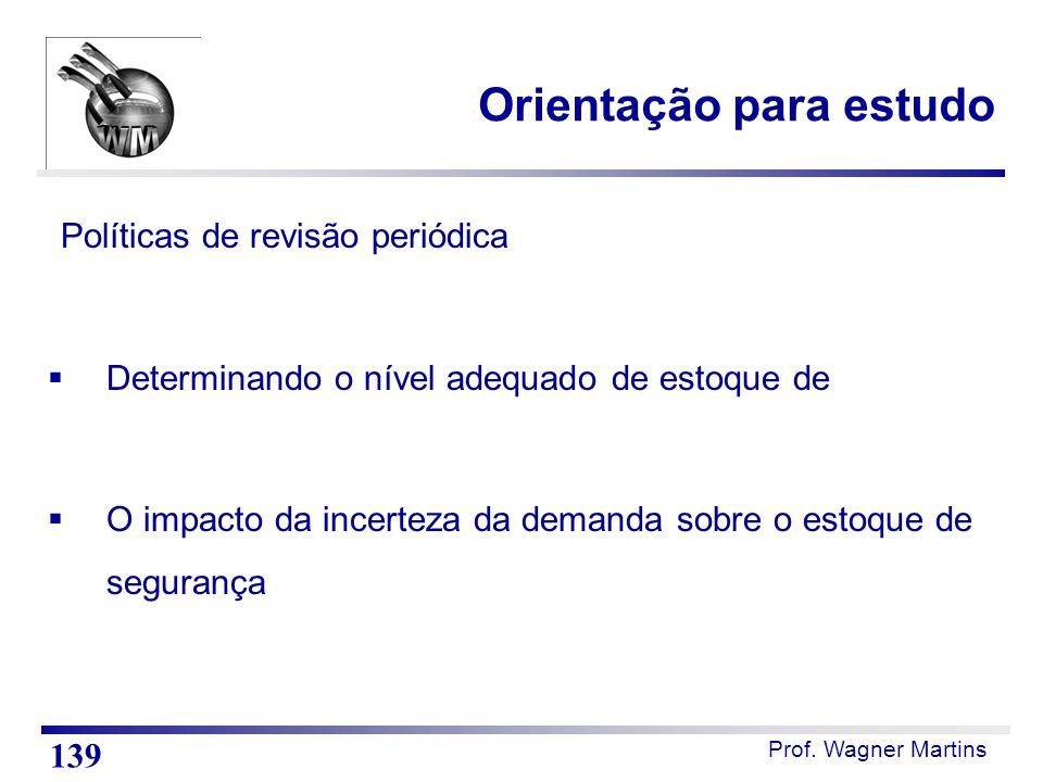 Prof. Wagner Martins Orientação para estudo Políticas de revisão periódica  Determinando o nível adequado de estoque de  O impacto da incerteza da d