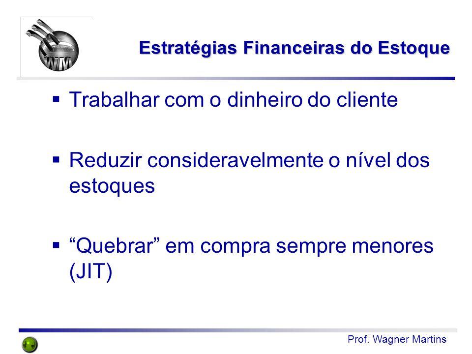 """Prof. Wagner Martins Estratégias Financeiras do Estoque  Trabalhar com o dinheiro do cliente  Reduzir consideravelmente o nível dos estoques  """"Queb"""