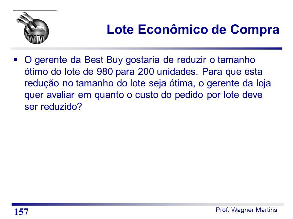 Prof. Wagner Martins Lote Econômico de Compra  O gerente da Best Buy gostaria de reduzir o tamanho ótimo do lote de 980 para 200 unidades. Para que e