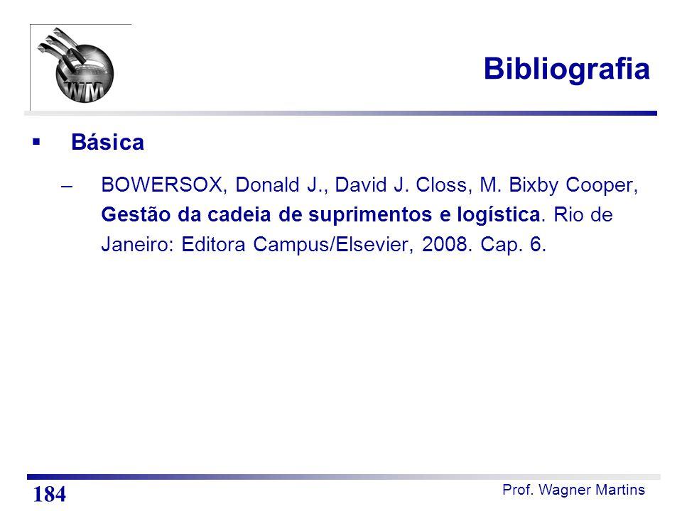 Prof. Wagner Martins Bibliografia  Básica –BOWERSOX, Donald J., David J. Closs, M. Bixby Cooper, Gestão da cadeia de suprimentos e logística. Rio de