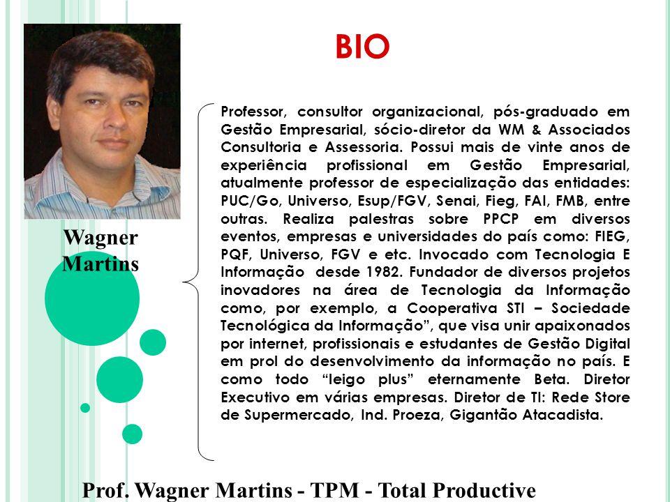 Prof. Wagner Martins - TPM - Total Productive Maintenance Professor, consultor organizacional, pós-graduado em Gestão Empresarial, sócio-diretor da WM