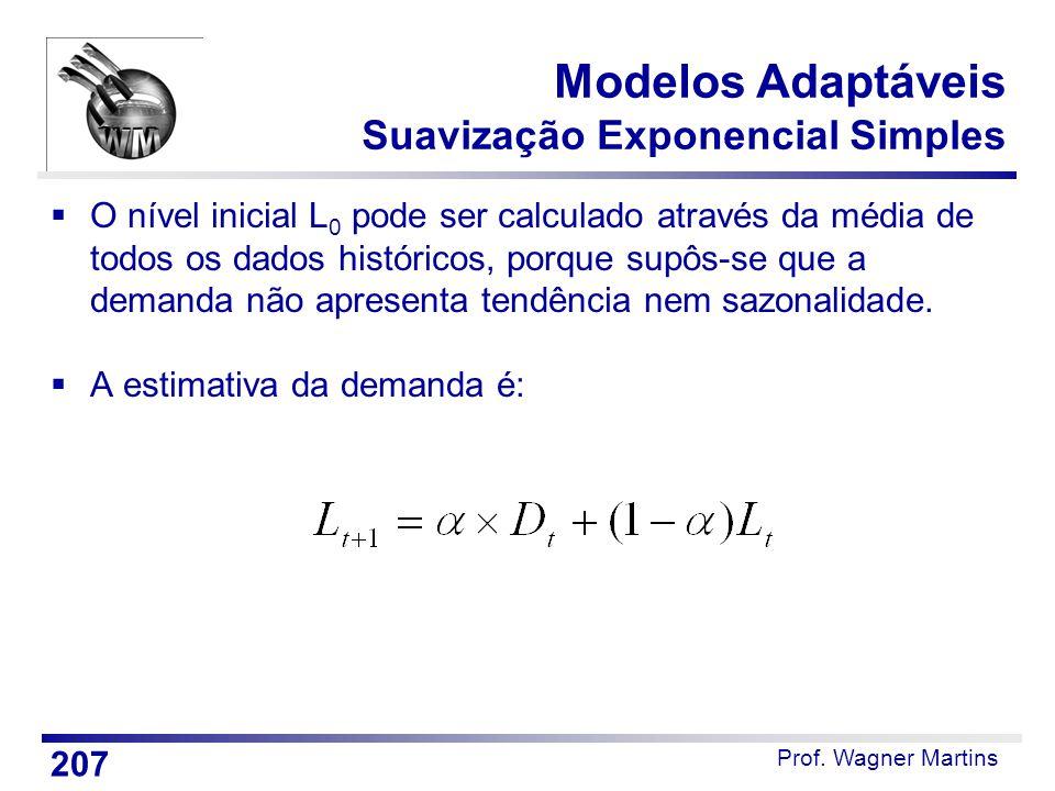 Prof. Wagner Martins Modelos Adaptáveis Suavização Exponencial Simples  O nível inicial L 0 pode ser calculado através da média de todos os dados his