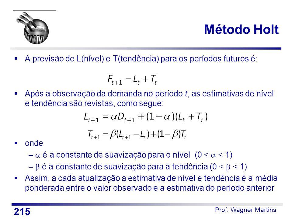 Prof. Wagner Martins Método Holt  A previsão de L(nível) e T(tendência) para os períodos futuros é:  Após a observação da demanda no período t, as e