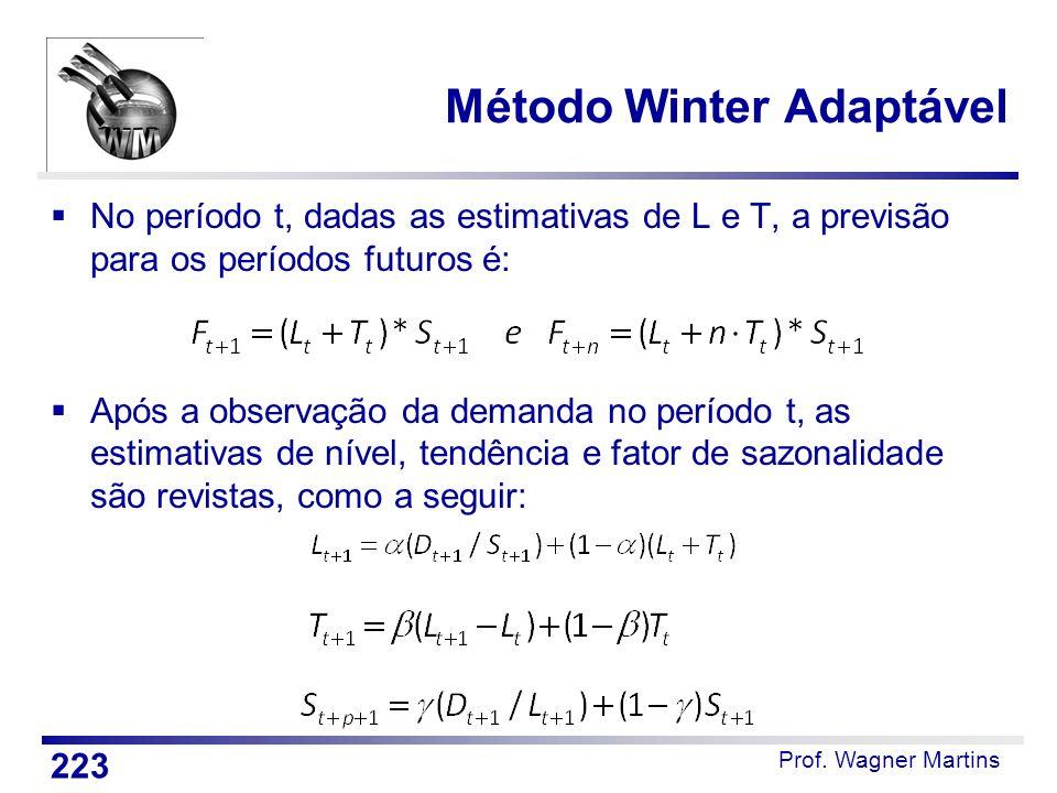 Prof. Wagner Martins Método Winter Adaptável  No período t, dadas as estimativas de L e T, a previsão para os períodos futuros é:  Após a observação