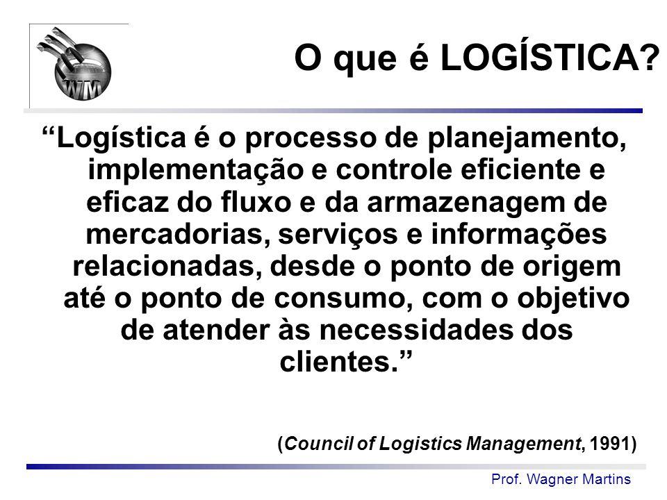 """Prof. Wagner Martins """"Logística é o processo de planejamento, implementação e controle eficiente e eficaz do fluxo e da armazenagem de mercadorias, se"""