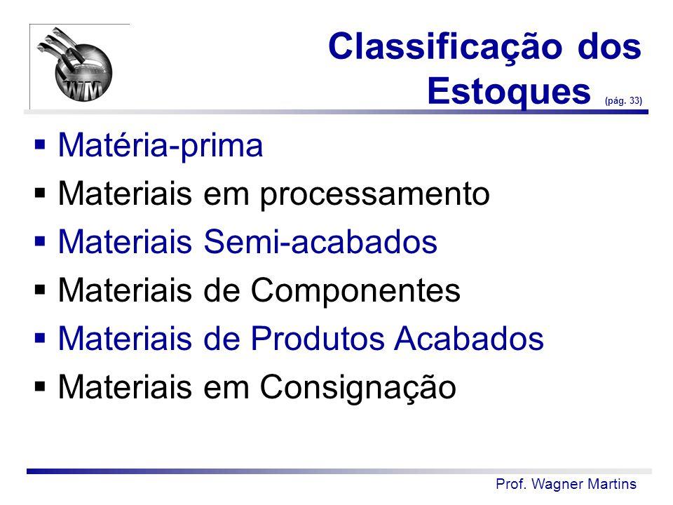 Classificação dos Estoques (pág. 33)  Matéria-prima  Materiais em processamento  Materiais Semi-acabados  Materiais de Componentes  Materiais de