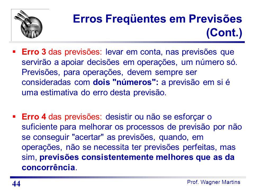 Prof. Wagner Martins Erros Freqüentes em Previsões (Cont.)  Erro 3 das previsões: levar em conta, nas previsões que servirão a apoiar decisões em ope