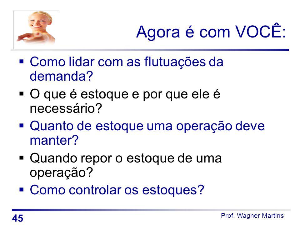 Prof. Wagner Martins Agora é com VOCÊ:  Como lidar com as flutuações da demanda?  O que é estoque e por que ele é necessário?  Quanto de estoque um