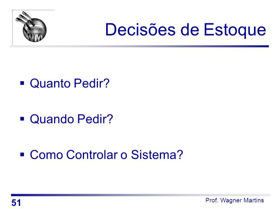 Decisões de Estoque  Quanto Pedir?  Quando Pedir?  Como Controlar o Sistema? 51