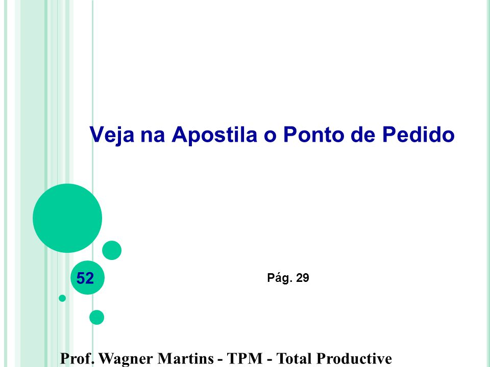 Prof. Wagner Martins - TPM - Total Productive Maintenance Veja na Apostila o Ponto de Pedido Pág. 29 52
