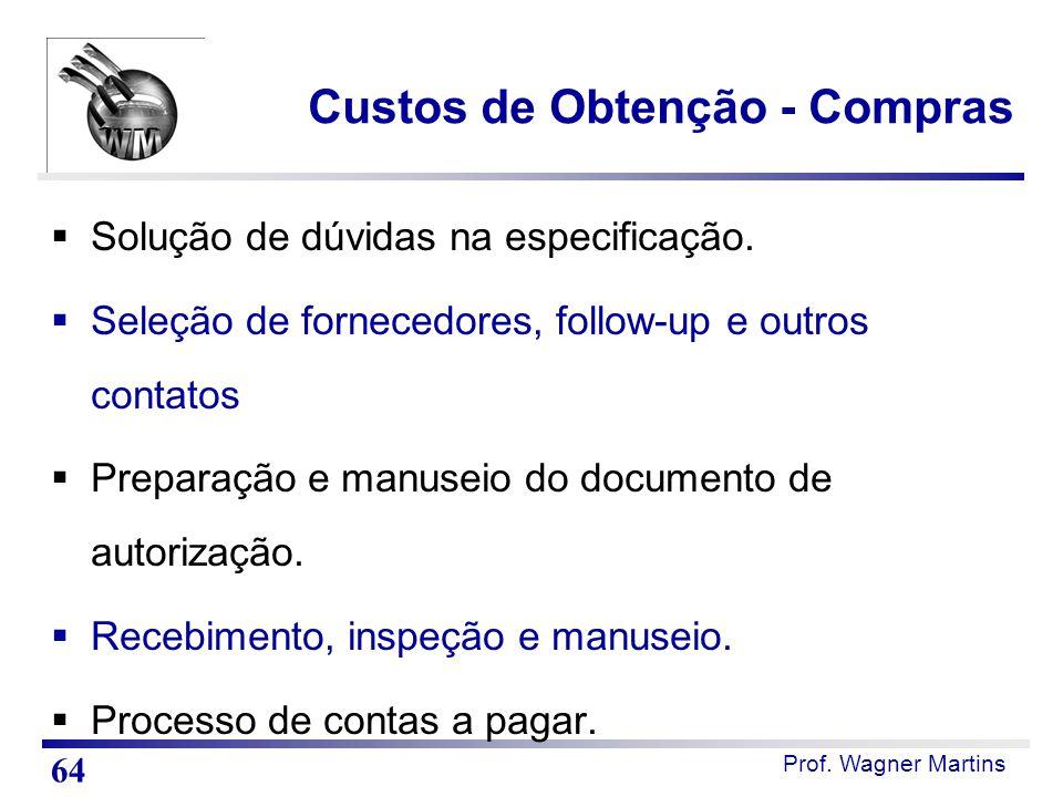 Prof. Wagner Martins Custos de Obtenção - Compras  Solução de dúvidas na especificação.  Seleção de fornecedores, follow-up e outros contatos  Prep