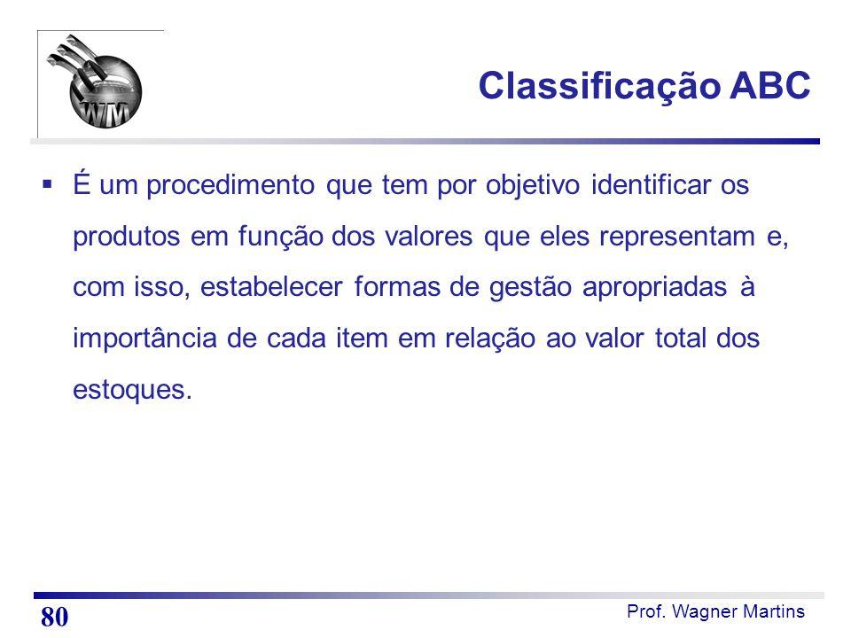 Prof. Wagner Martins Classificação ABC  É um procedimento que tem por objetivo identificar os produtos em função dos valores que eles representam e,