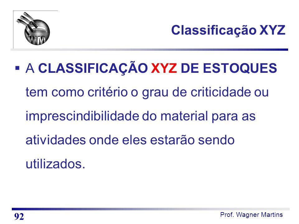 Prof. Wagner Martins Classificação XYZ  A CLASSIFICAÇÃO XYZ DE ESTOQUES tem como critério o grau de criticidade ou imprescindibilidade do material pa