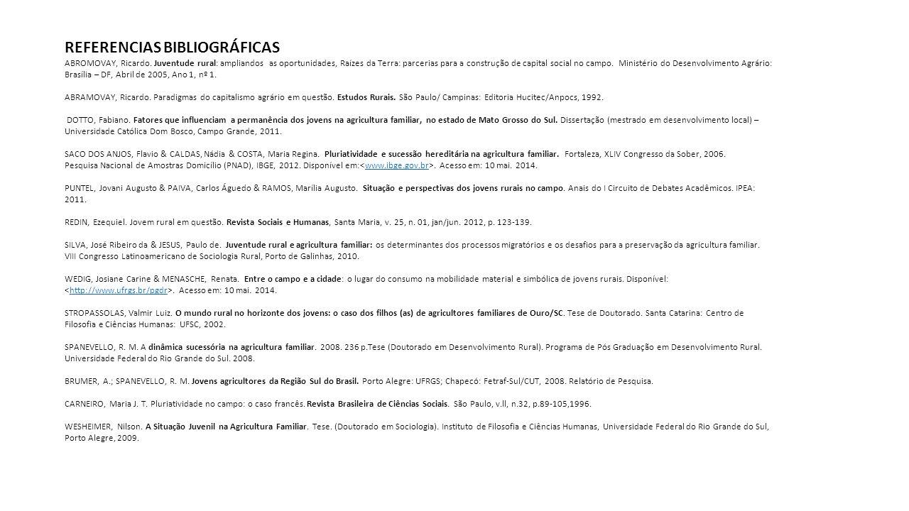 REFERENCIAS BIBLIOGRÁFICAS ABROMOVAY, Ricardo. Juventude rural: ampliandos as oportunidades, Raízes da Terra: parcerias para a construção de capital s
