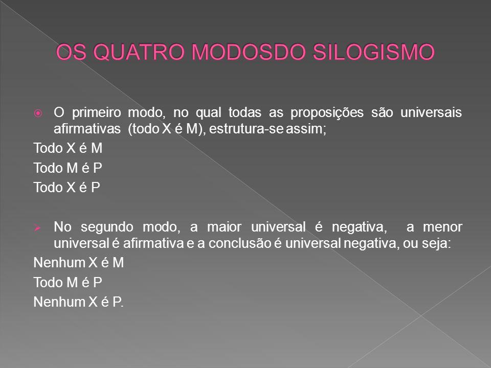  O primeiro modo, no qual todas as proposições são universais afirmativas (todo X é M), estrutura-se assim; Todo X é M Todo M é P Todo X é P  No segundo modo, a maior universal é negativa, a menor universal é afirmativa e a conclusão é universal negativa, ou seja: Nenhum X é M Todo M é P Nenhum X é P.