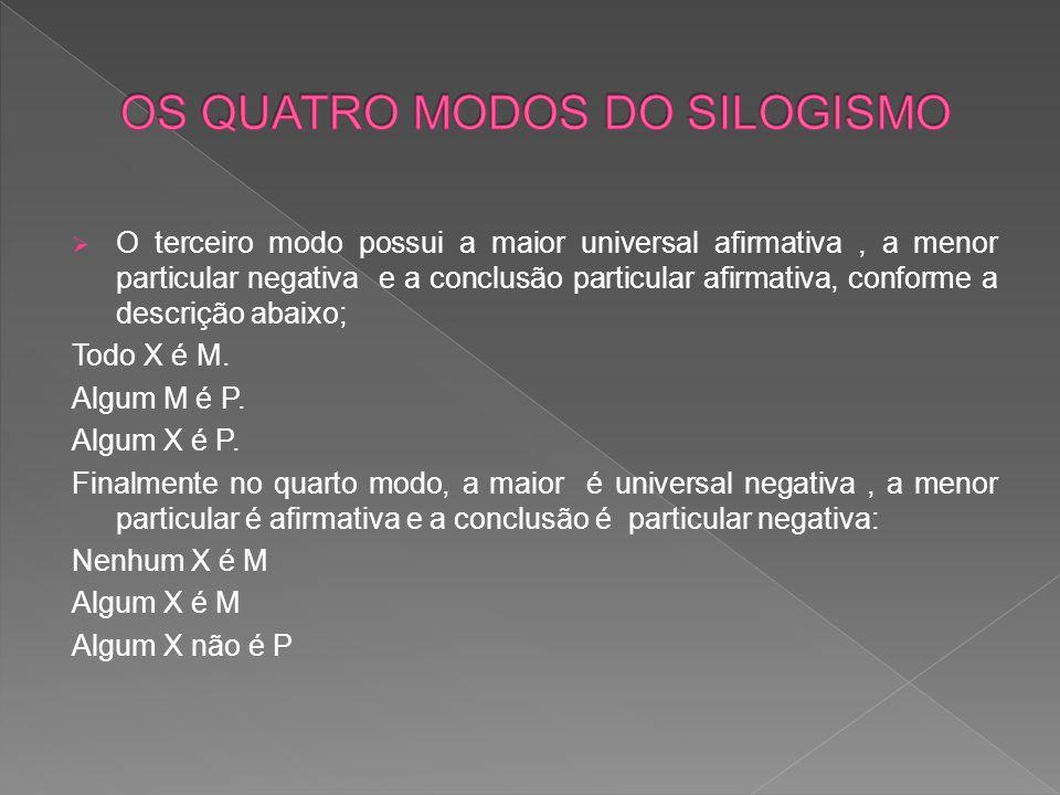 O terceiro modo possui a maior universal afirmativa, a menor particular negativa e a conclusão particular afirmativa, conforme a descrição abaixo; Todo X é M.