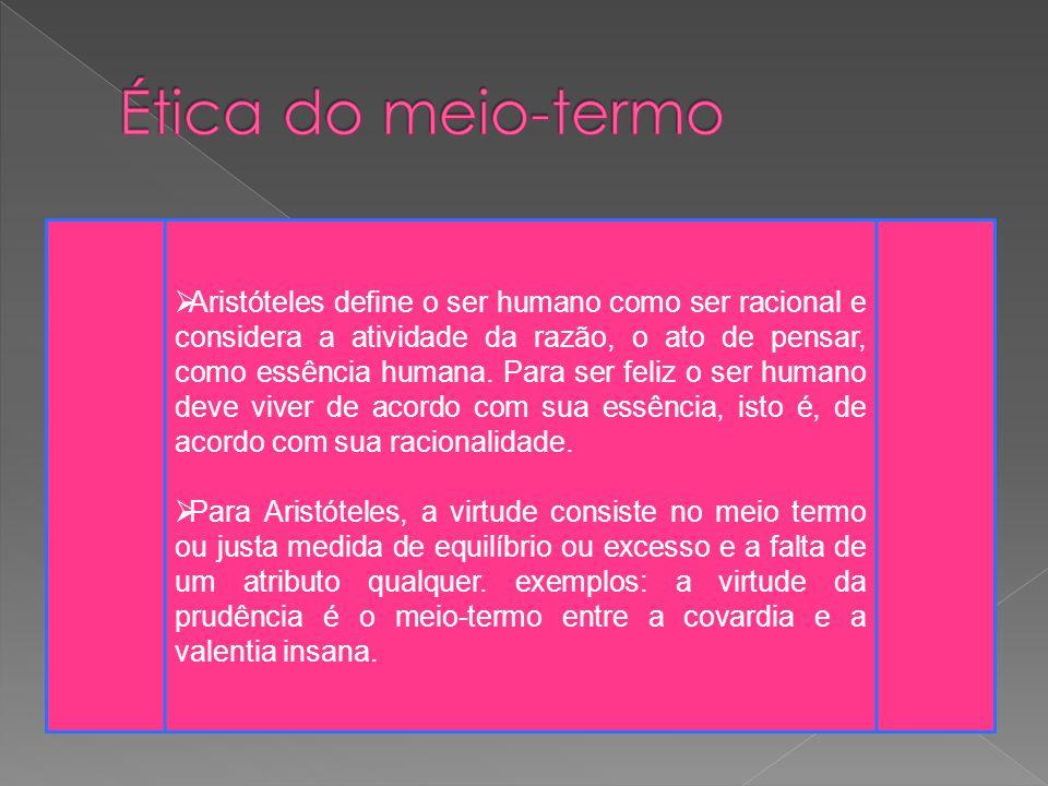  Aristóteles define o ser humano como ser racional e considera a atividade da razão, o ato de pensar, como essência humana.
