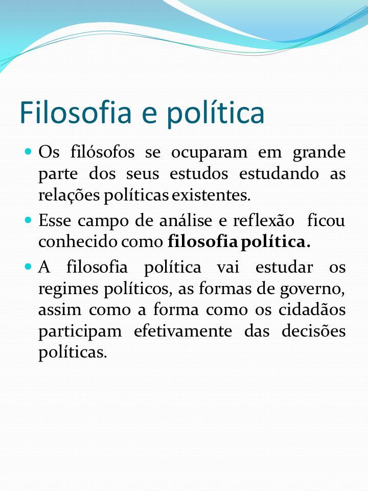Filosofia e política Os filósofos se ocuparam em grande parte dos seus estudos estudando as relações políticas existentes. Esse campo de análise e ref