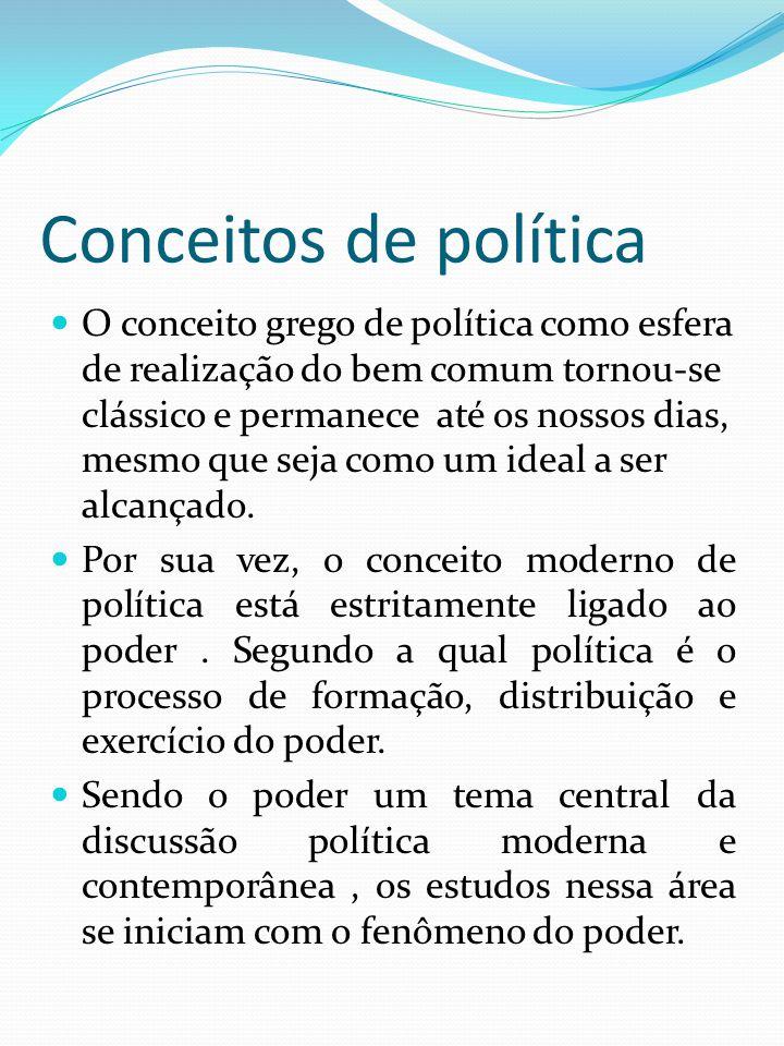 Conceitos de política O conceito grego de política como esfera de realização do bem comum tornou-se clássico e permanece até os nossos dias, mesmo que