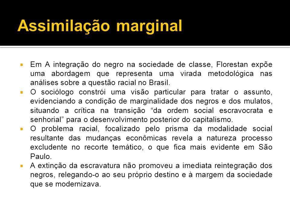  Em A integração do negro na sociedade de classe, Florestan expõe uma abordagem que representa uma virada metodológica nas análises sobre a questão racial no Brasil.