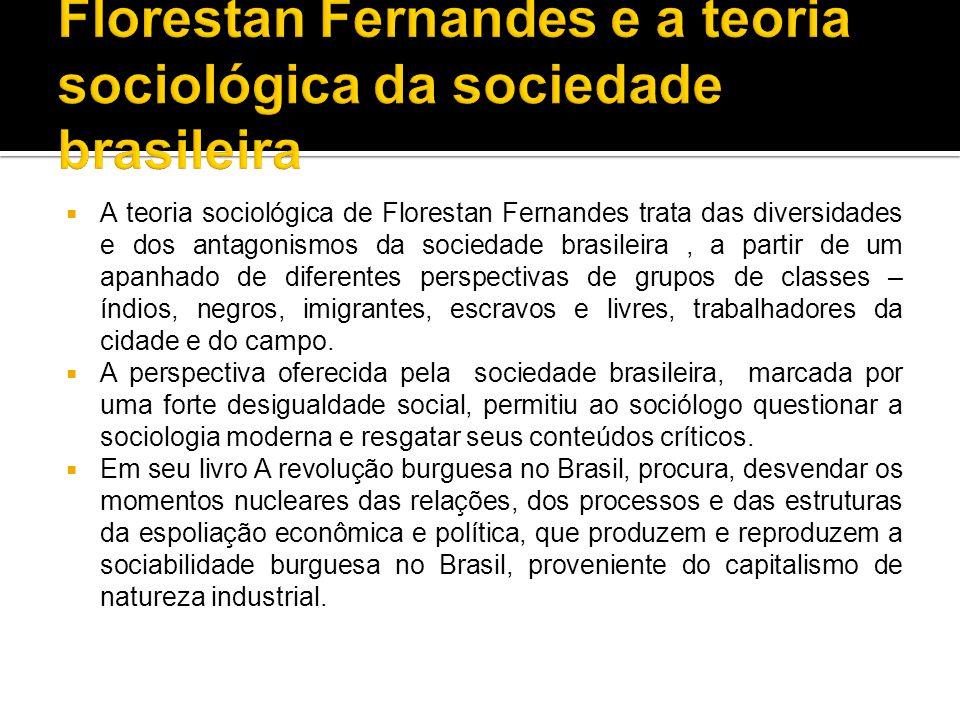  A teoria sociológica de Florestan Fernandes trata das diversidades e dos antagonismos da sociedade brasileira, a partir de um apanhado de diferentes perspectivas de grupos de classes – índios, negros, imigrantes, escravos e livres, trabalhadores da cidade e do campo.