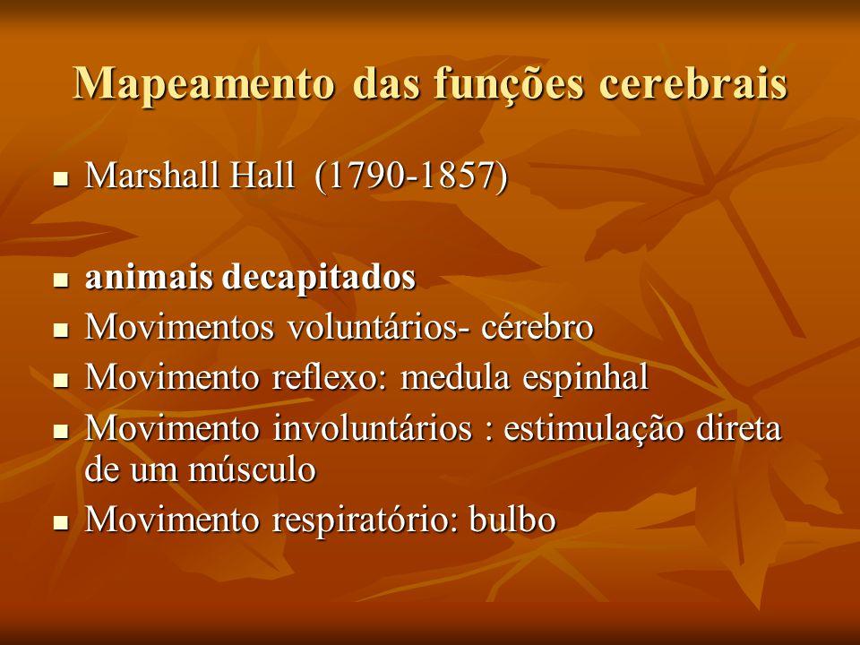 Mapeamento das funções cerebrais Marshall Hall (1790-1857) Marshall Hall (1790-1857) animais decapitados animais decapitados Movimentos voluntários- c