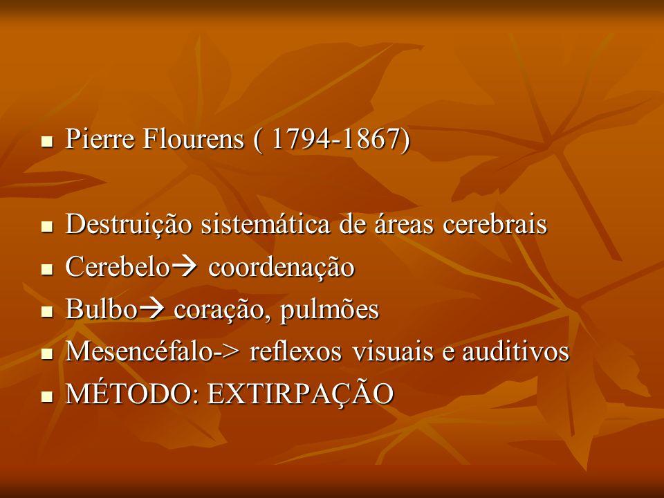 Pierre Flourens ( 1794-1867) Pierre Flourens ( 1794-1867) Destruição sistemática de áreas cerebrais Destruição sistemática de áreas cerebrais Cerebelo