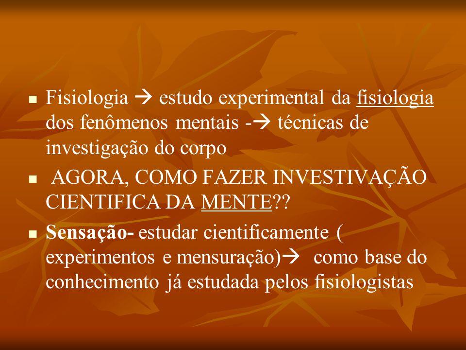 Fisiologia  estudo experimental da fisiologia dos fenômenos mentais -  técnicas de investigação do corpo AGORA, COMO FAZER INVESTIVAÇÃO CIENTIFICA D
