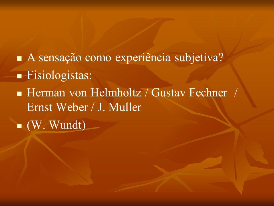 A sensação como experiência subjetiva? Fisiologistas: Herman von Helmholtz / Gustav Fechner / Ernst Weber / J. Muller (W. Wundt)