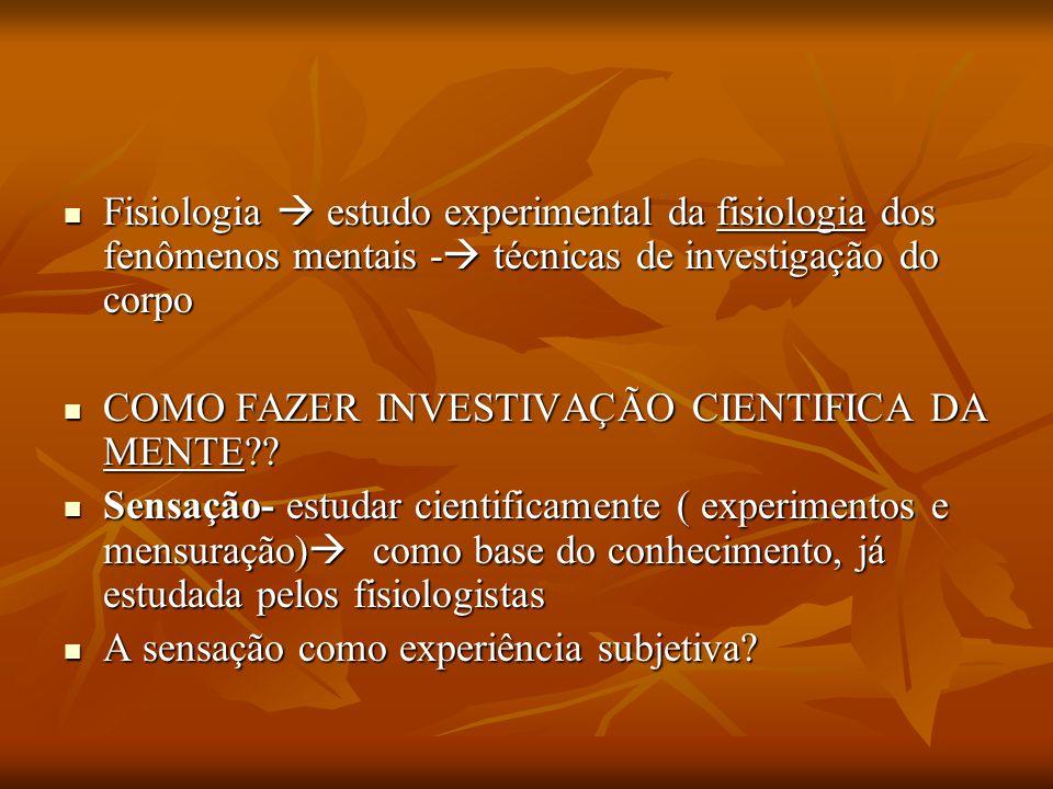 Fisiologia  estudo experimental da fisiologia dos fenômenos mentais -  técnicas de investigação do corpo Fisiologia  estudo experimental da fisiolo