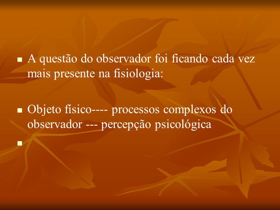 A questão do observador foi ficando cada vez mais presente na fisiologia: Objeto físico---- processos complexos do observador --- percepção psicológic