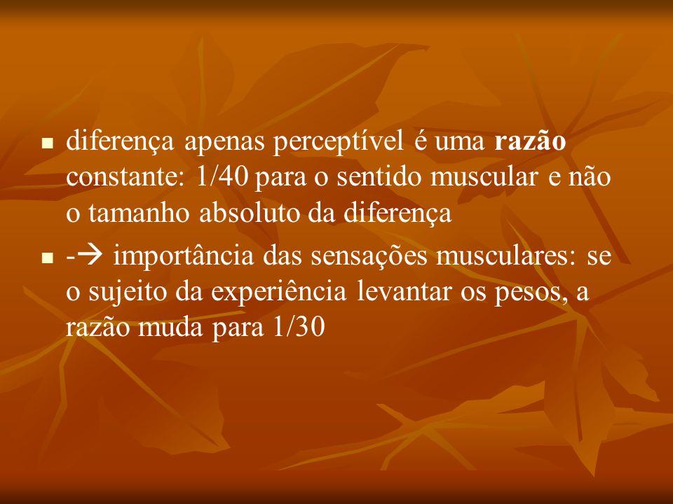 diferença apenas perceptível é uma razão constante: 1/40 para o sentido muscular e não o tamanho absoluto da diferença -  importância das sensações m