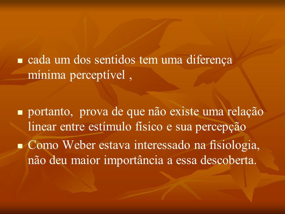 cada um dos sentidos tem uma diferença mínima perceptível, portanto, prova de que não existe uma relação linear entre estímulo físico e sua percepção